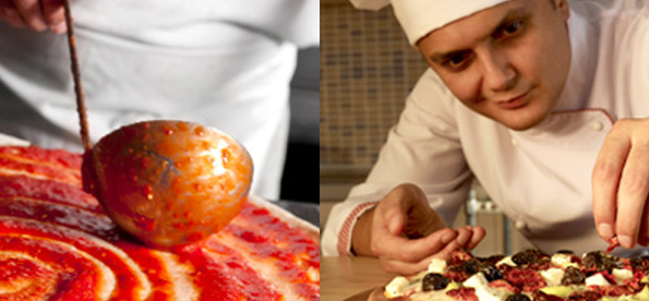 Split photographs of a chef spreading sauce on pizza dough as well as a chef adding toppings to a pizza