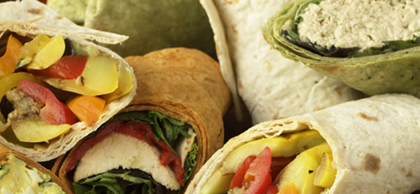 Multiple, different wraps piled together