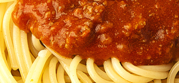 Close up of spaghetti with meat sauce